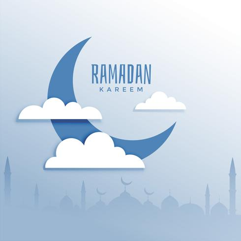 ramadan kareem festival background with moon and cloud