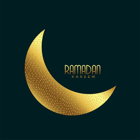 creative golden crescent moon for ramadan kareem