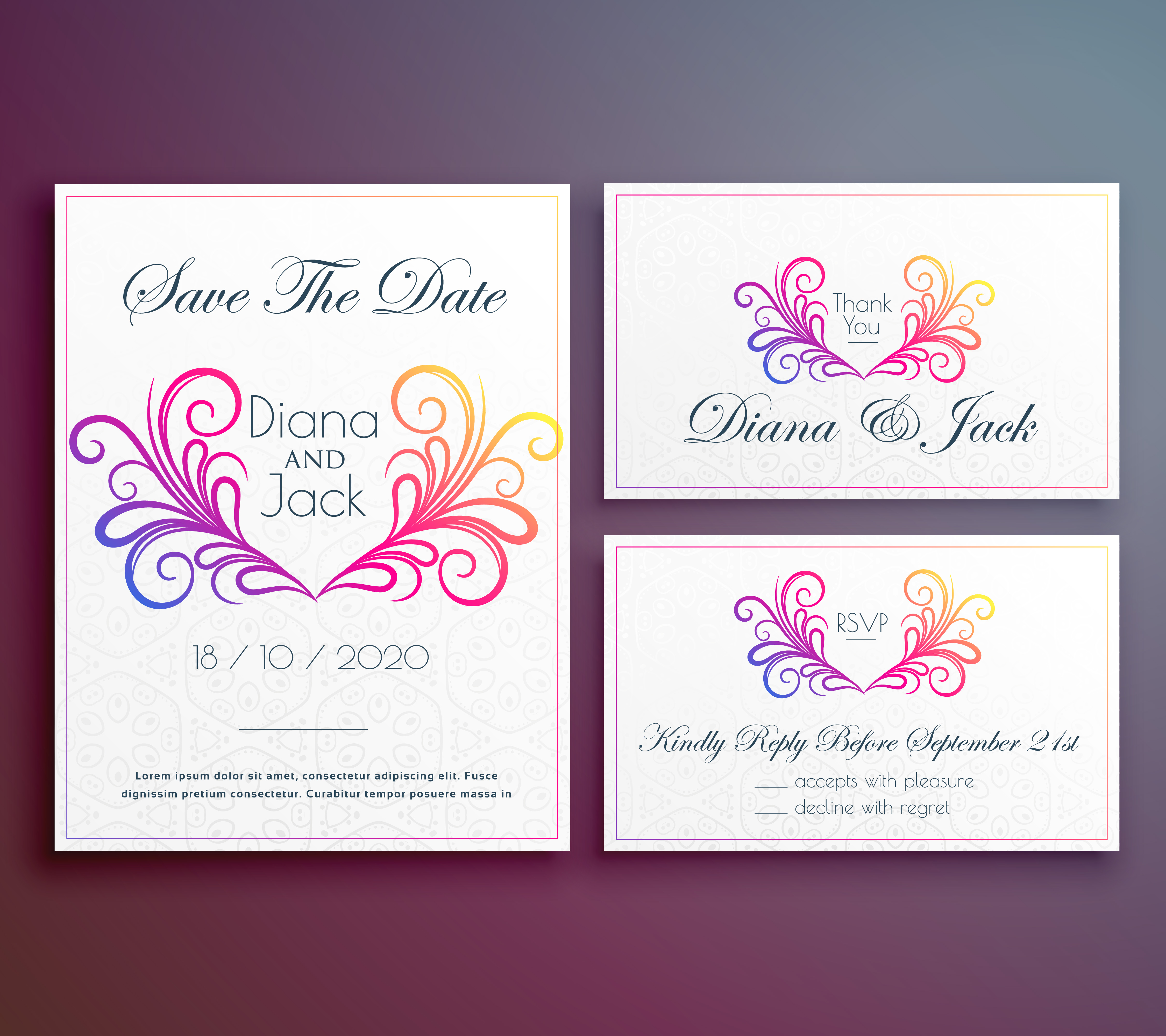 cute wedding invitation card with floral heart - Download Free ...