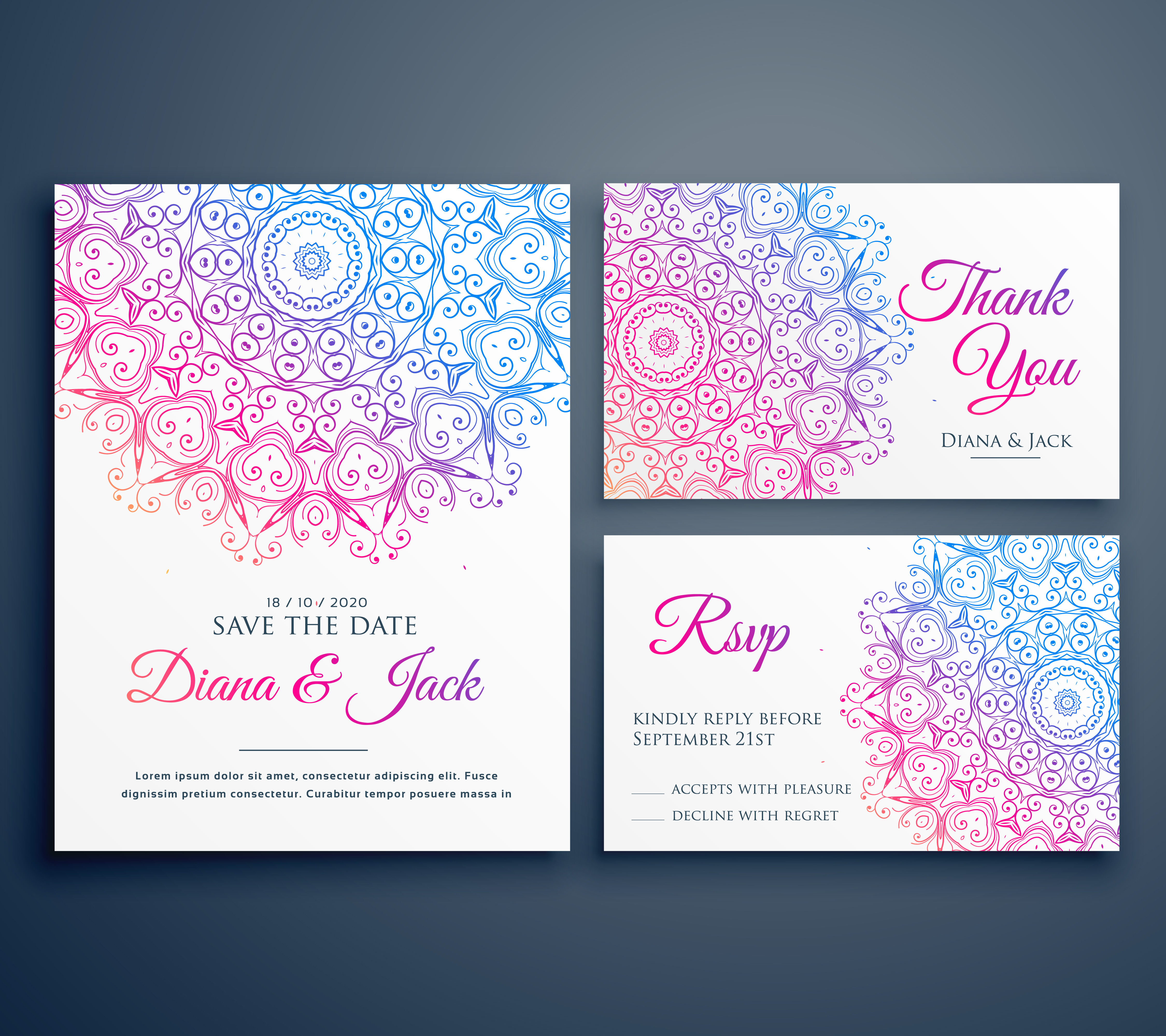 mandala style wedding invitation template with thank you