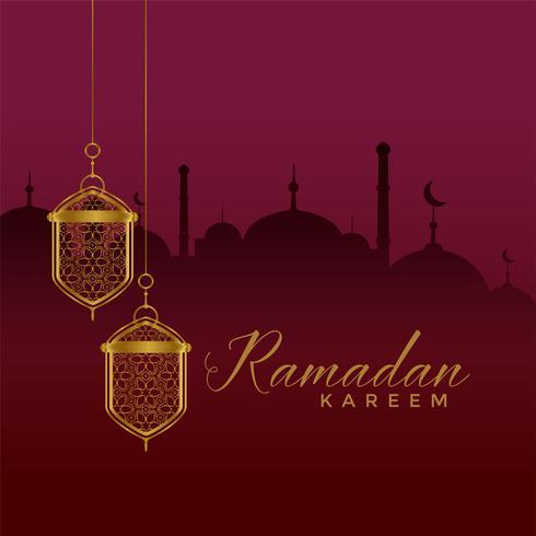 elegant ramadan kareem festival greeting with hanging lantern