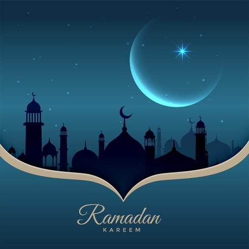 beautiful night scene with mosque, moon and stars for ramadan ka