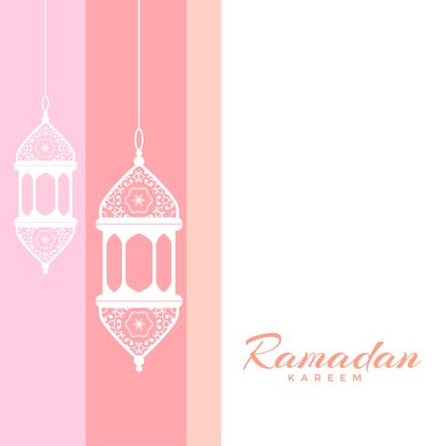 ramadan kareem greeting with decorative lamps