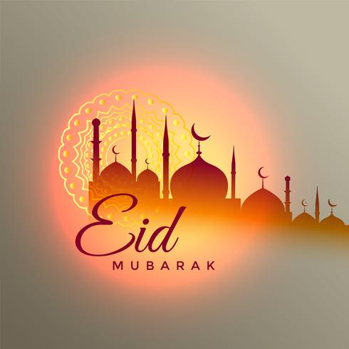 eid mubarak beautiful greeting design with mosque silhouette