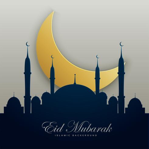 eid mubarak illustration with mosque silhouette and golden moon