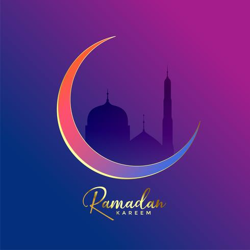 luxury ramadan kareem background with moon and mosque