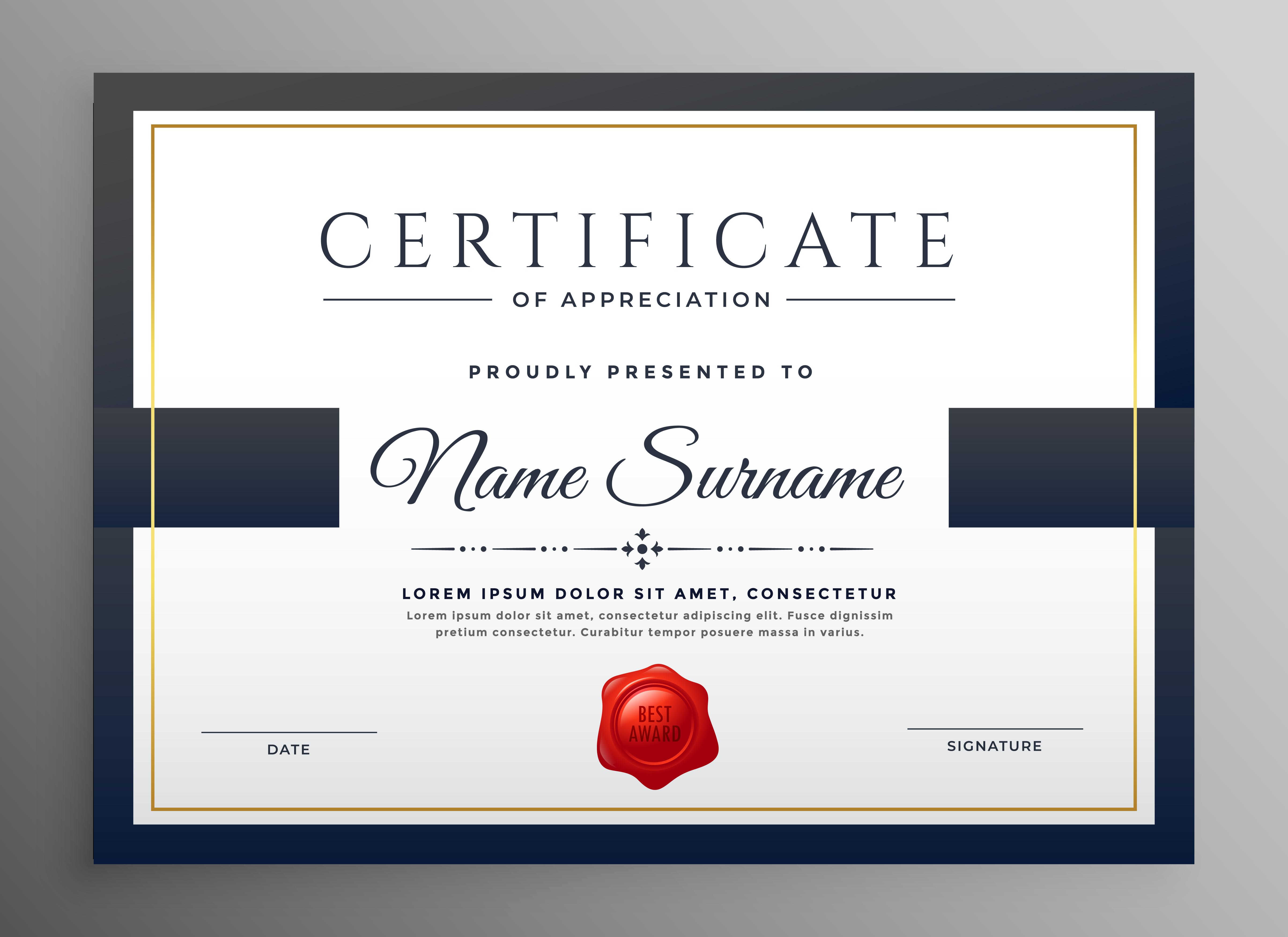 clean modern certificate template design