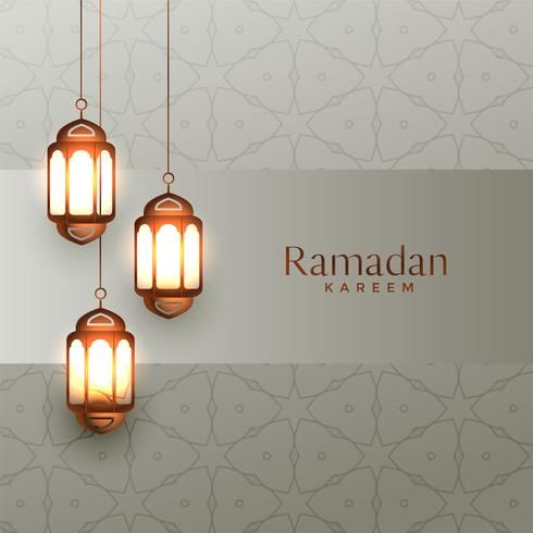 arabic ramadan kareem background with hanging lanterns