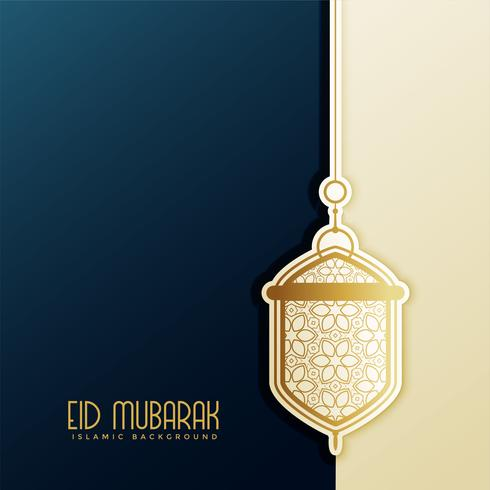 eid festival greeting with hanging lantern