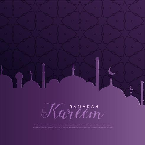 ramadan kareem greeting in purple color theme