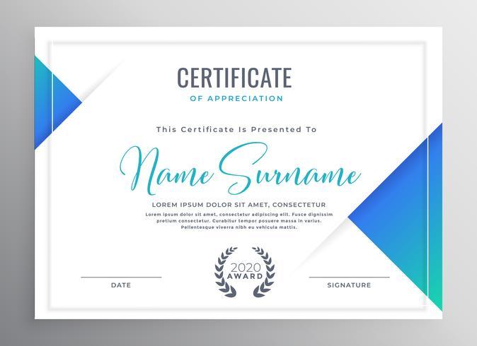minimales blaues Dreieck-Zertifikatvorlagendesign