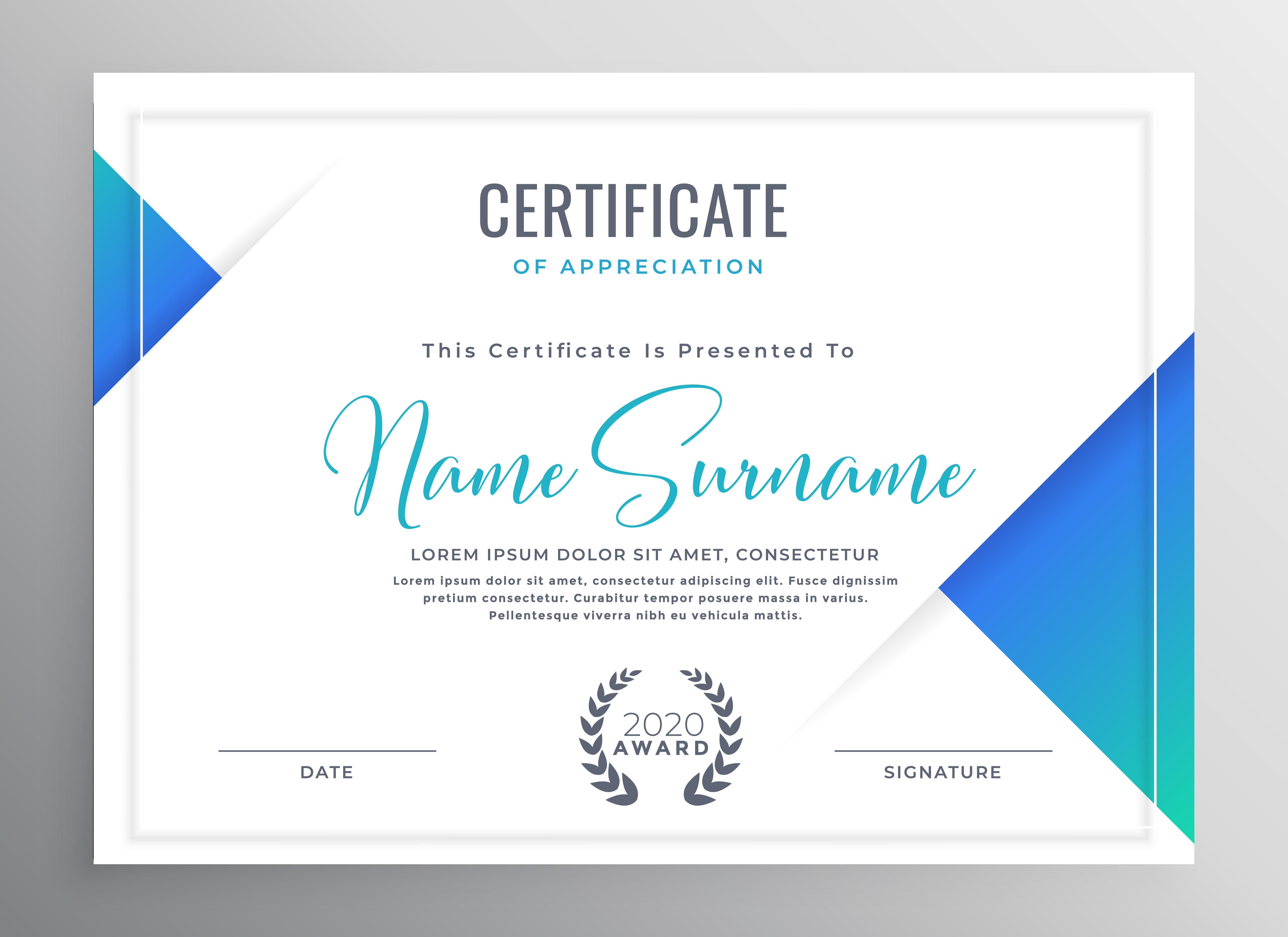 minimal blue triangle certificate template design ...