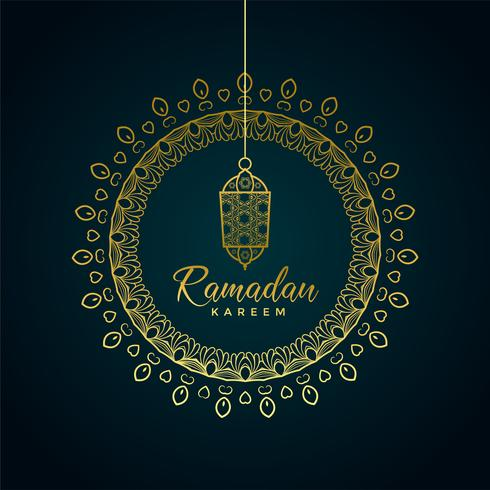 ramadan kareem greeting with hanging lamp and ornamental decorat