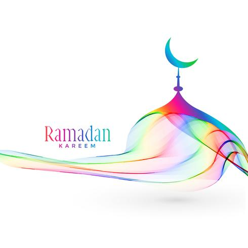 diseño colorido de la mezquita creativa para la temporada de Ramadán Kareem