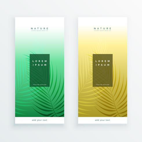 two vertical leaves banner design