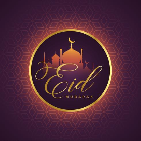 beautiful eid mubarak card design with mosque silhouette