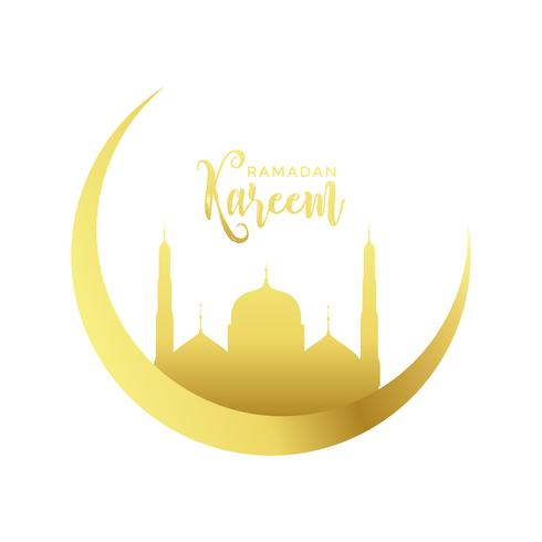 golden moon and mosque design for ramadan kareem season