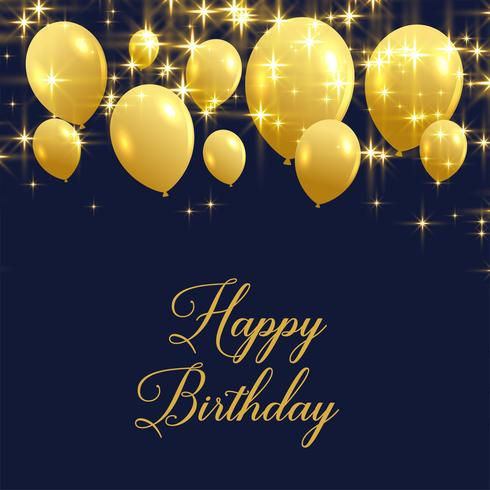 beautiful happy birthday greeting with golden balloons