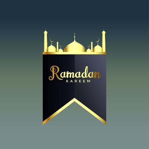 glänsande golden ramadan kareem moské silhuett
