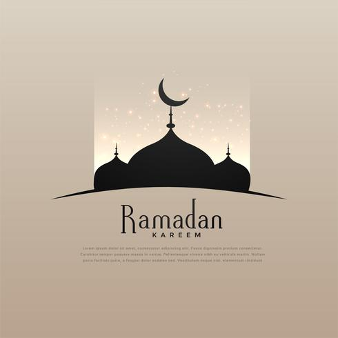 elegant ramadan kareem design with mosque and glowing light