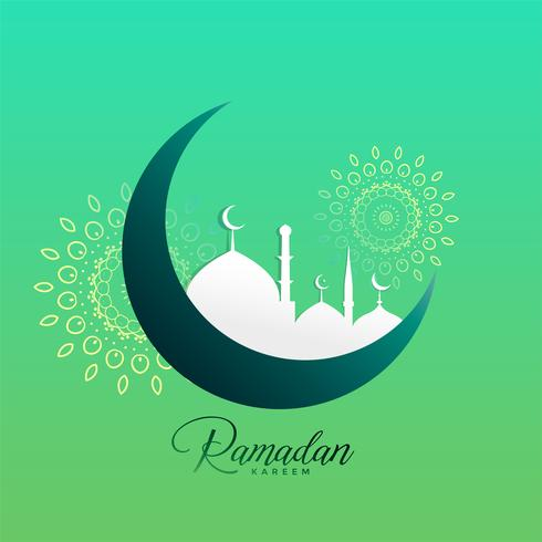 creative ramadan kareem moon and mosque design