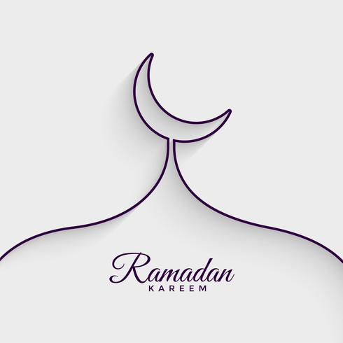 mosque made with line ramadan kareem background