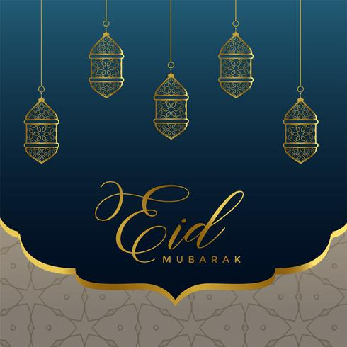 islamic eid mubarak background with golden lamps