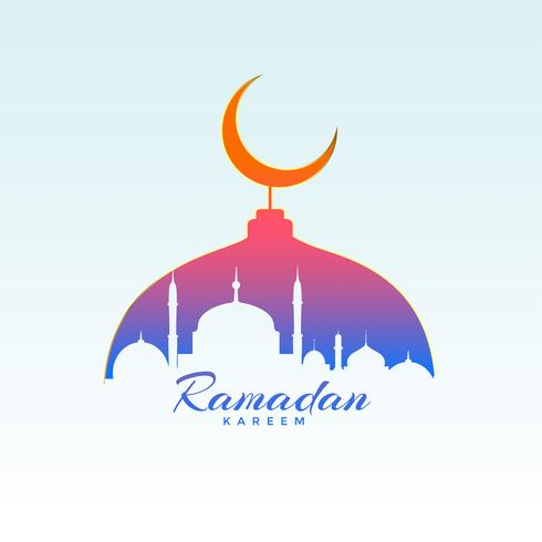 ramadan kareem design with mosque silhouette