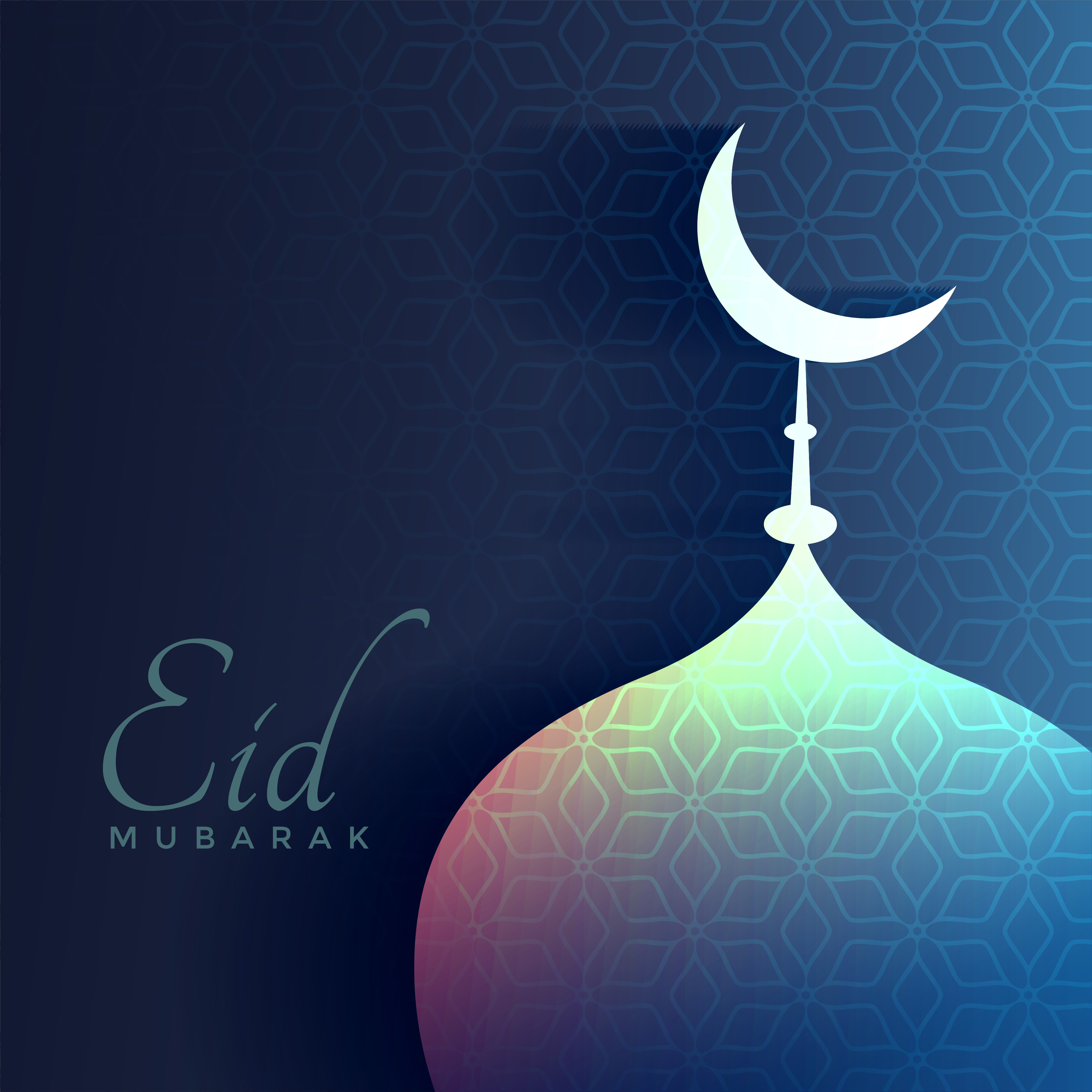 eid mubarak greeting with shiny mosque and moon