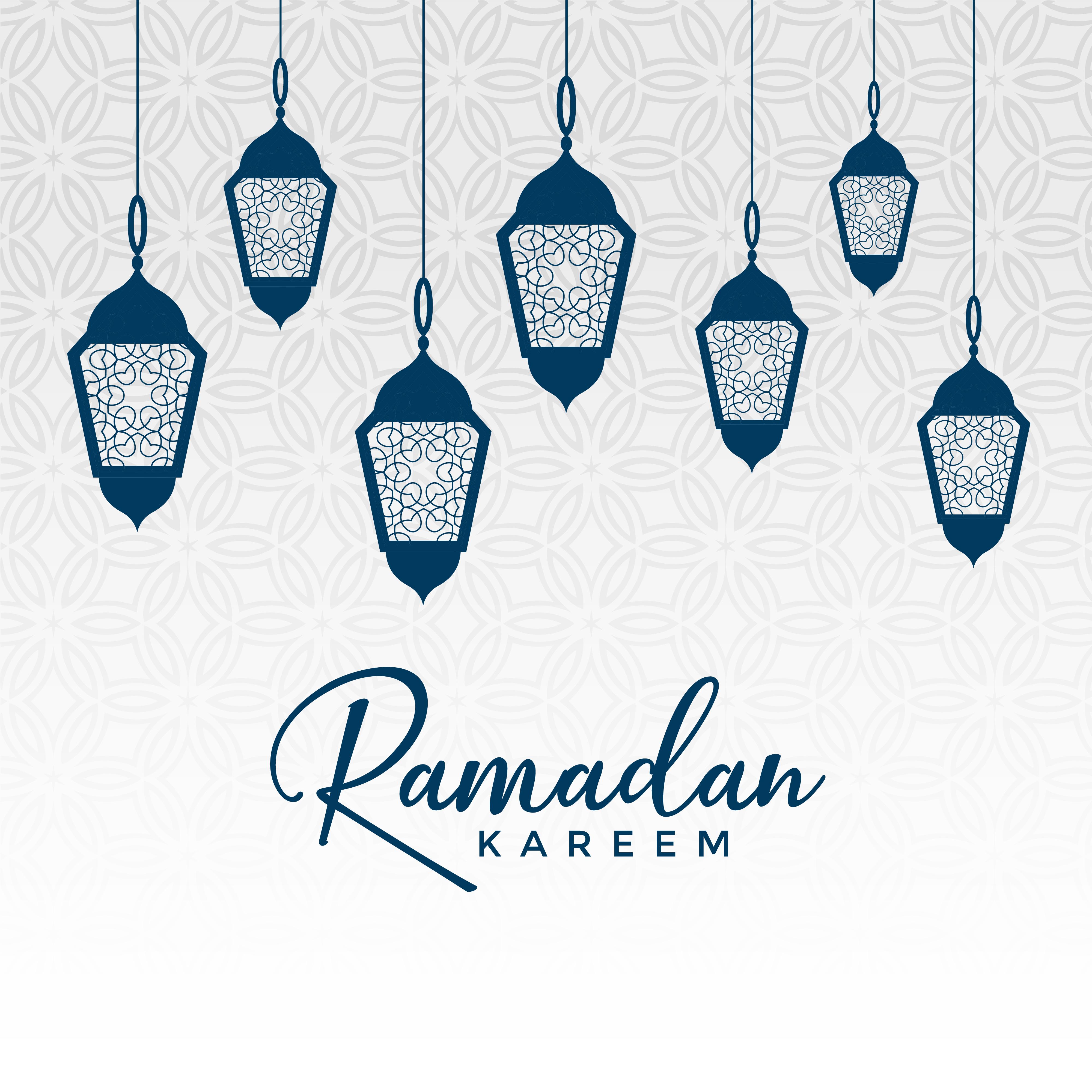 Hanging Lamp Vector: Arabic Ramadan Kareem Design With Hanging Lamps