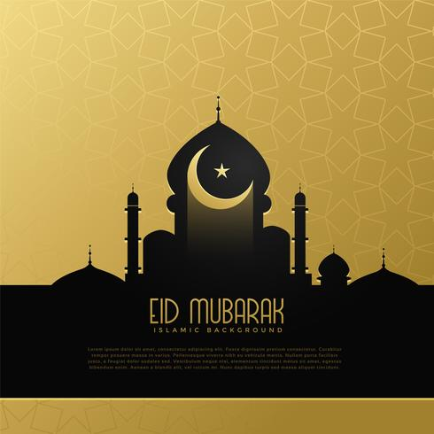 eid mubarak concept design with mosque and moon