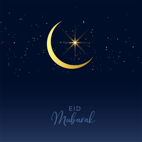 eid mubarak festival design with moon and star