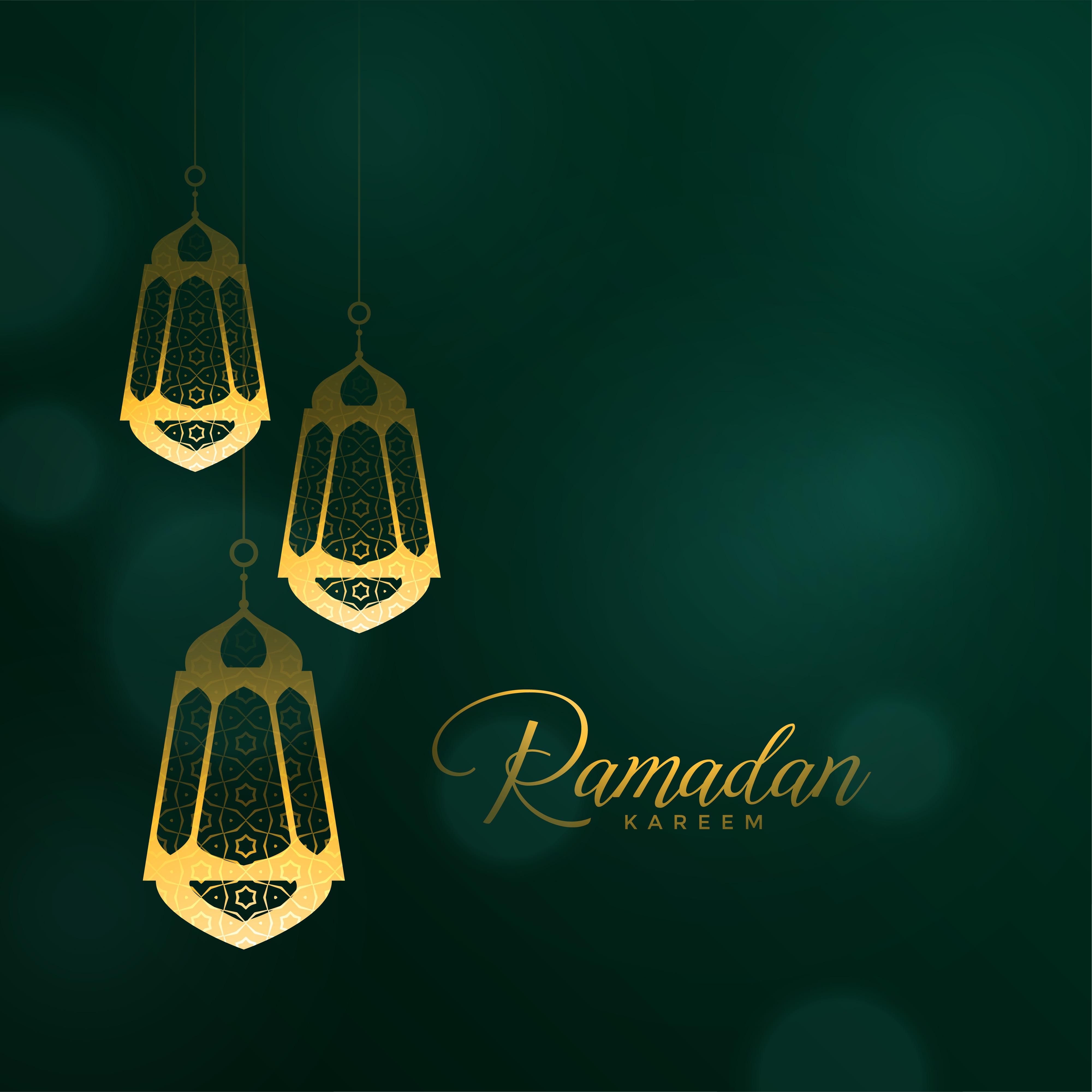 Ramadan Kareem Background With Hanging Lanterns Download