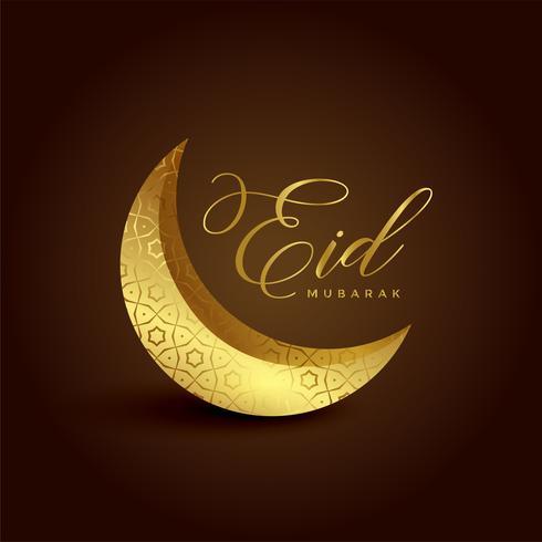 beautiful 3d golden crescent moon for eid festival