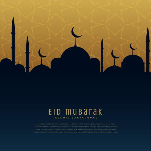 eid mubarak festival greeting with mosque silhouette