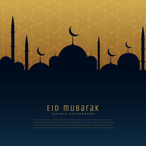eid mubarak festival saluant avec la silhouette de la mosquée