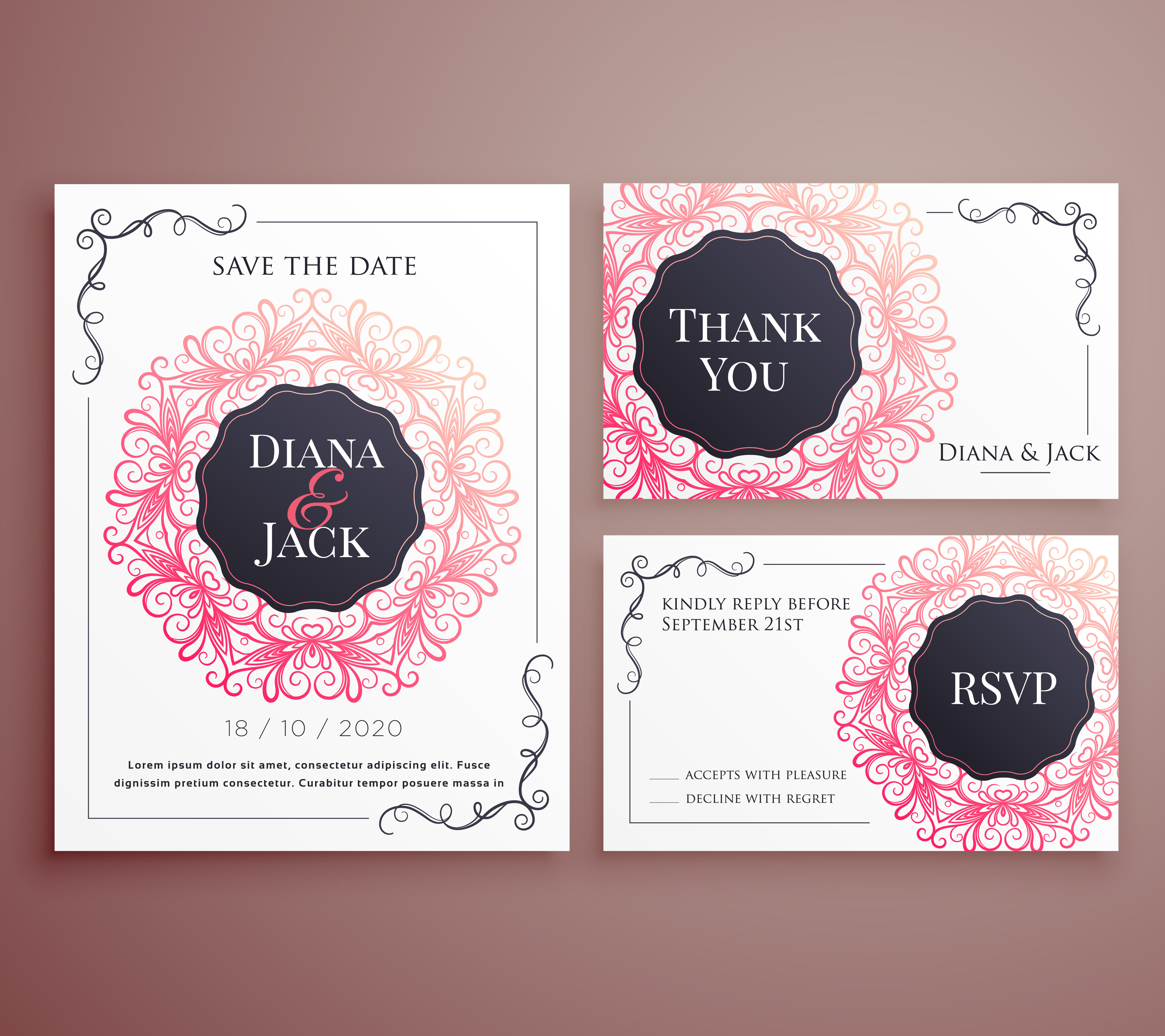 wedding invitation card template design set download free vector art stock graphics images. Black Bedroom Furniture Sets. Home Design Ideas