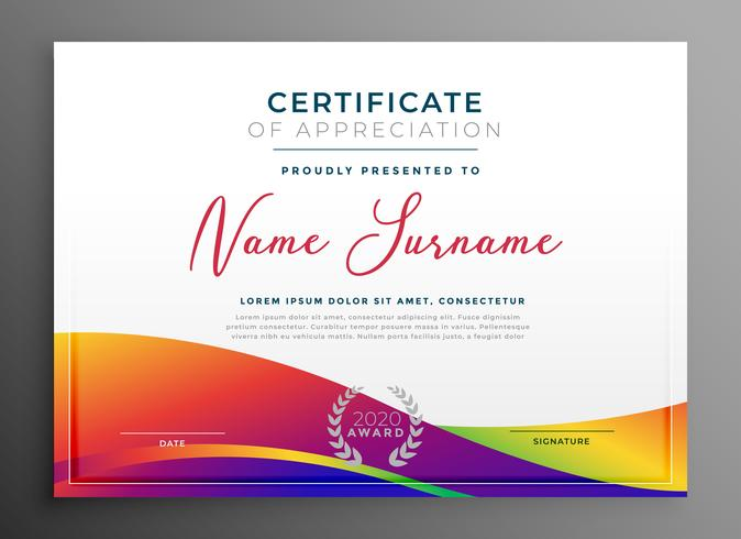 certificate template with colorful vibrant wavy shape
