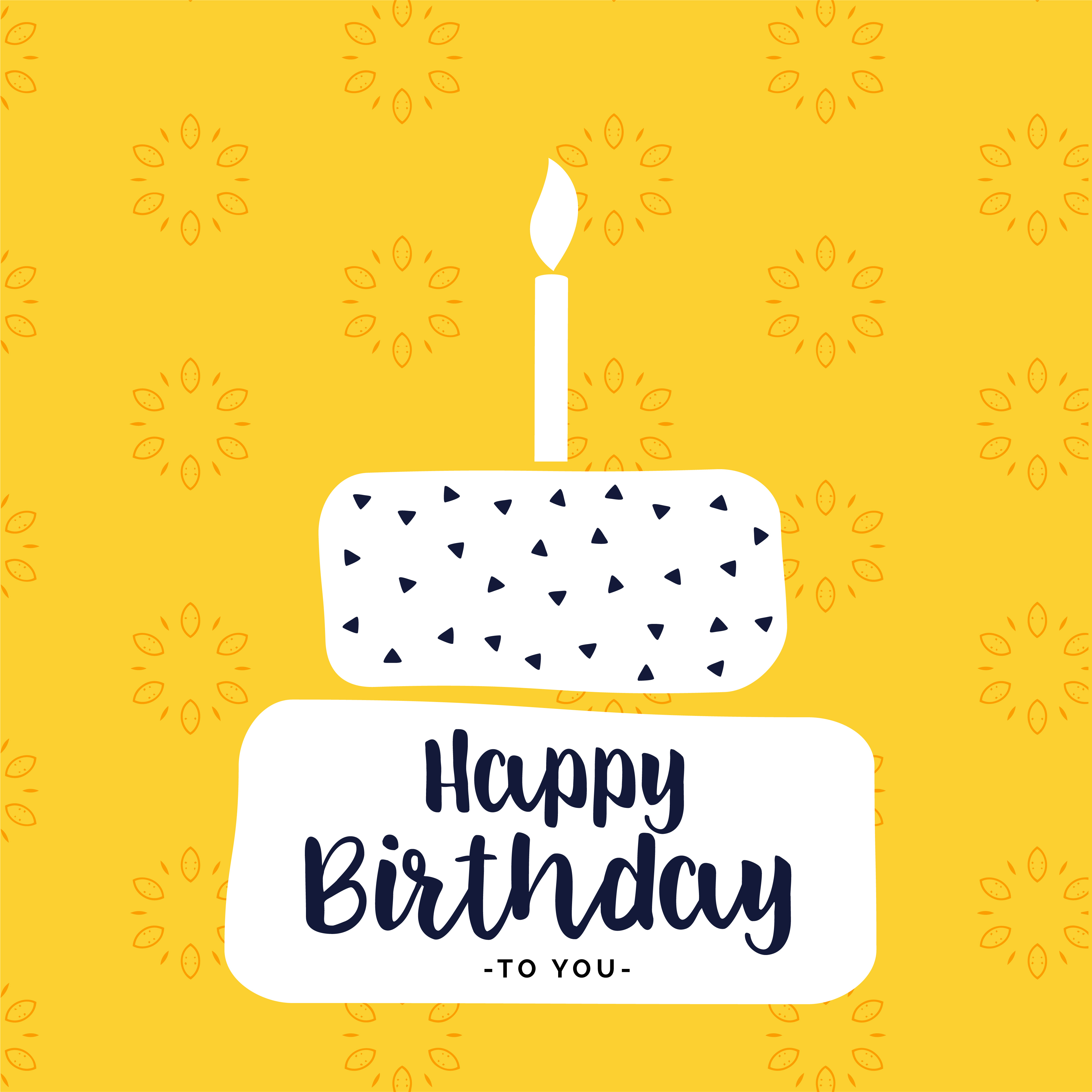 Happy Bithday Card Design With Flat White Cake Shape Download Free
