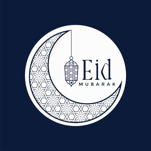 stylish eid mubarak festival design with moon and lamp