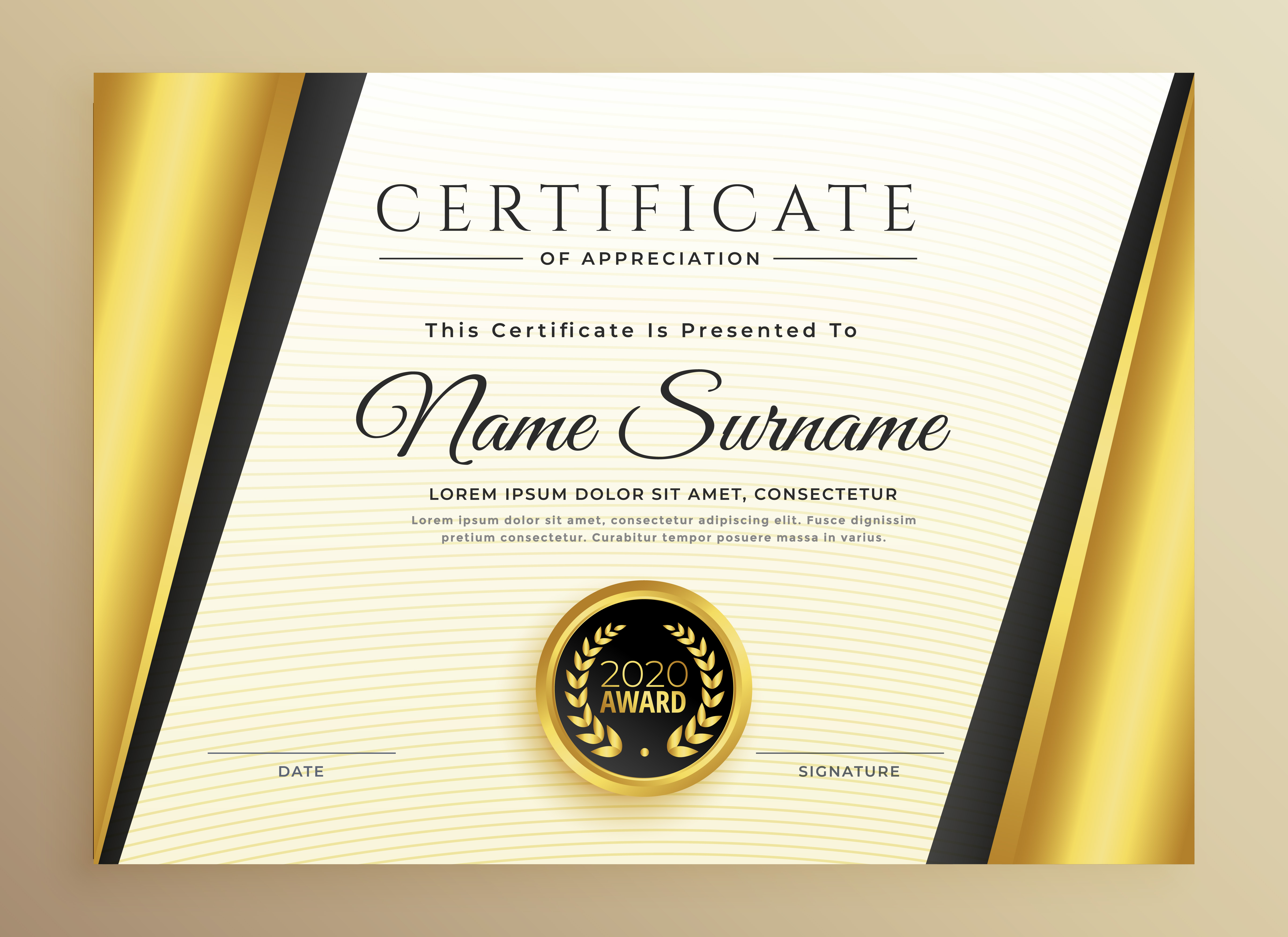 premium certificate template design with golden shapes ...