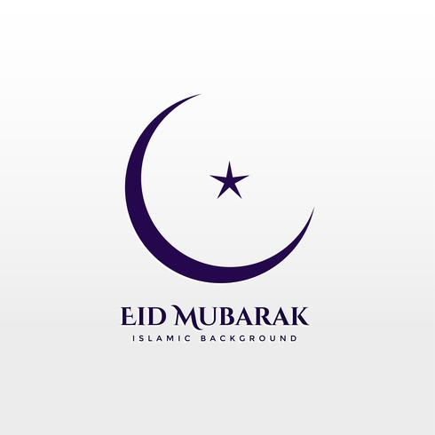 crescent moon with star on white background. Eid mubarak