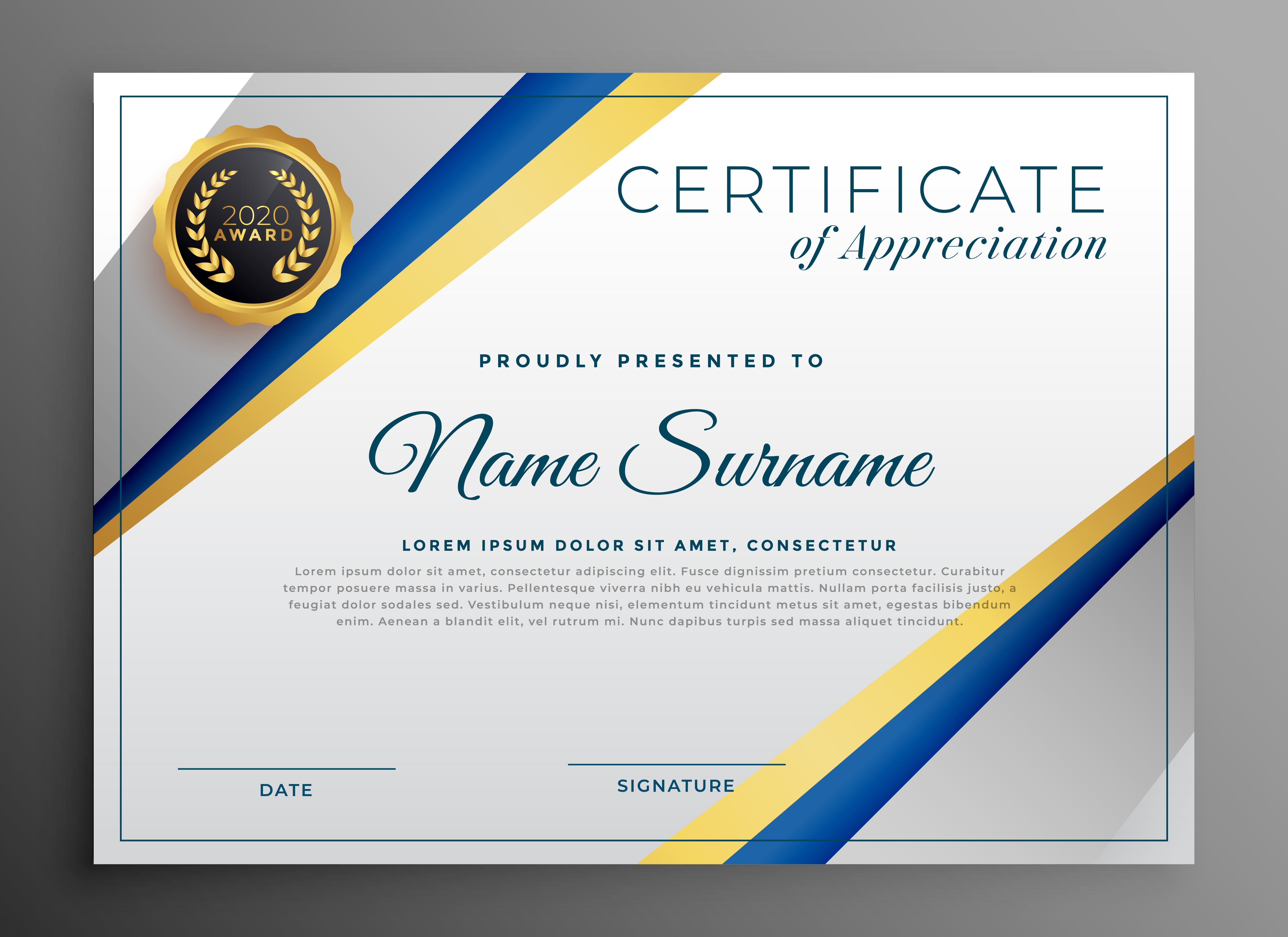 professional certificate tempplate design with geometric ...