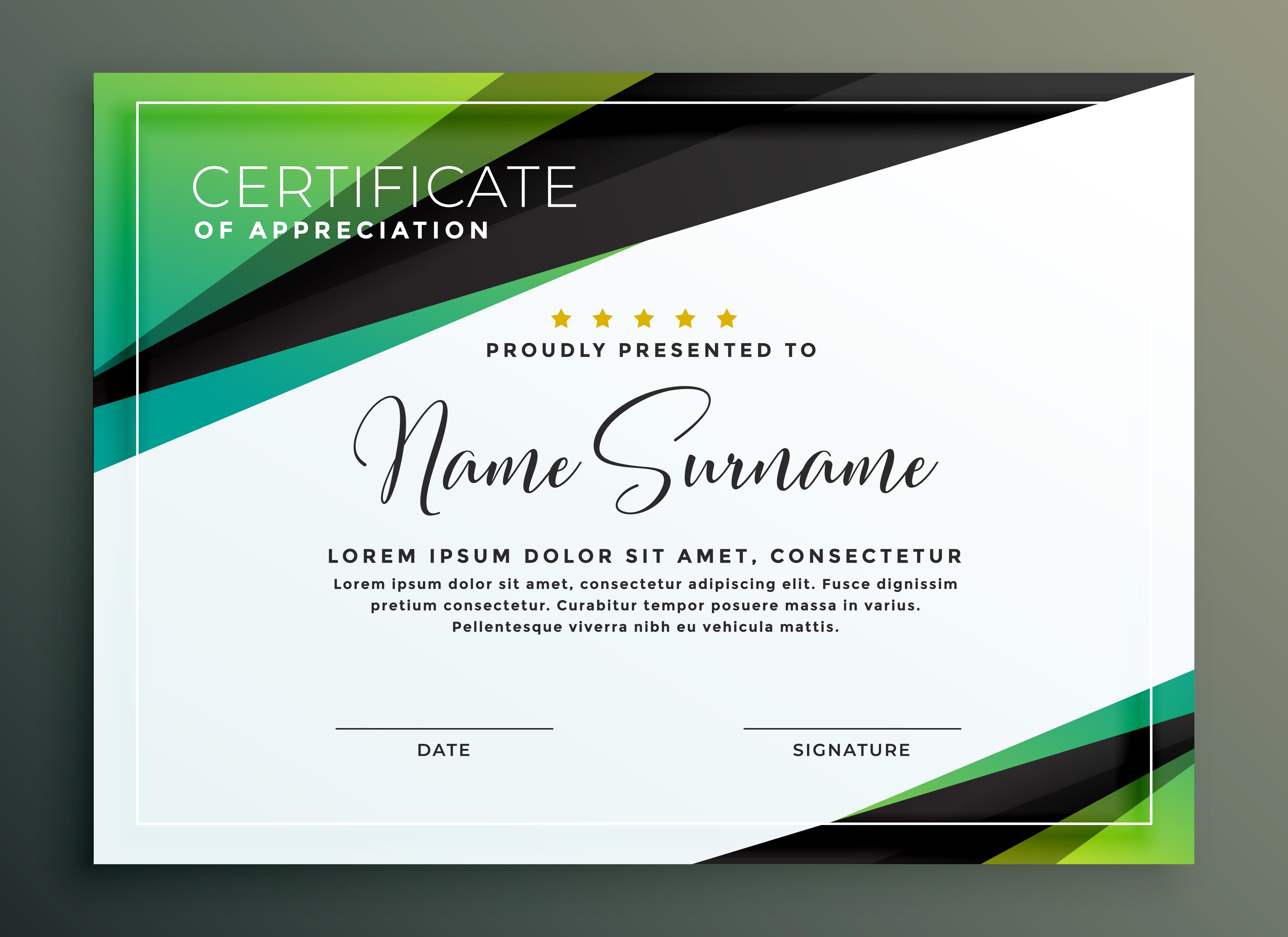 certificate template design in green black geometric