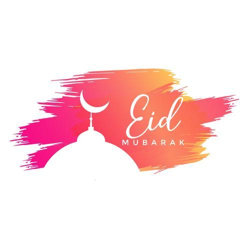 eid mubarak design with watercolor strokes
