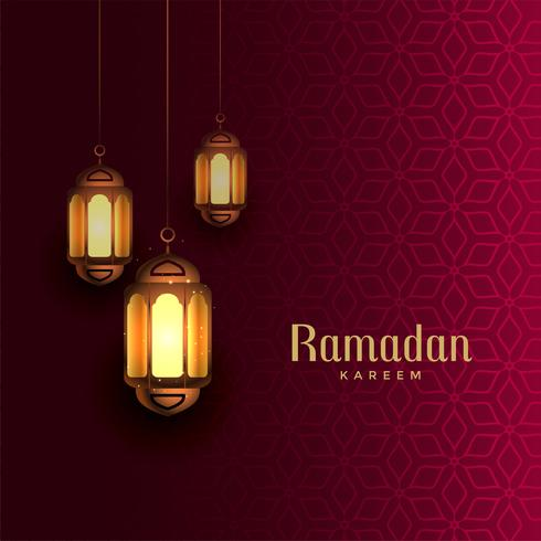 ramadan kareem beautiful greeting with hanging lamps