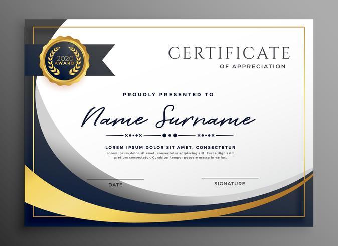 diseño de plantilla de certificado ondulado premium