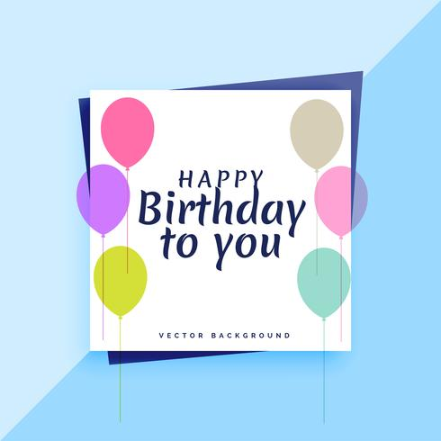 elegant happy birthday card design with colorful balloons