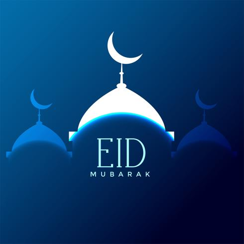 eid mubarak mosque silhouette on blue background