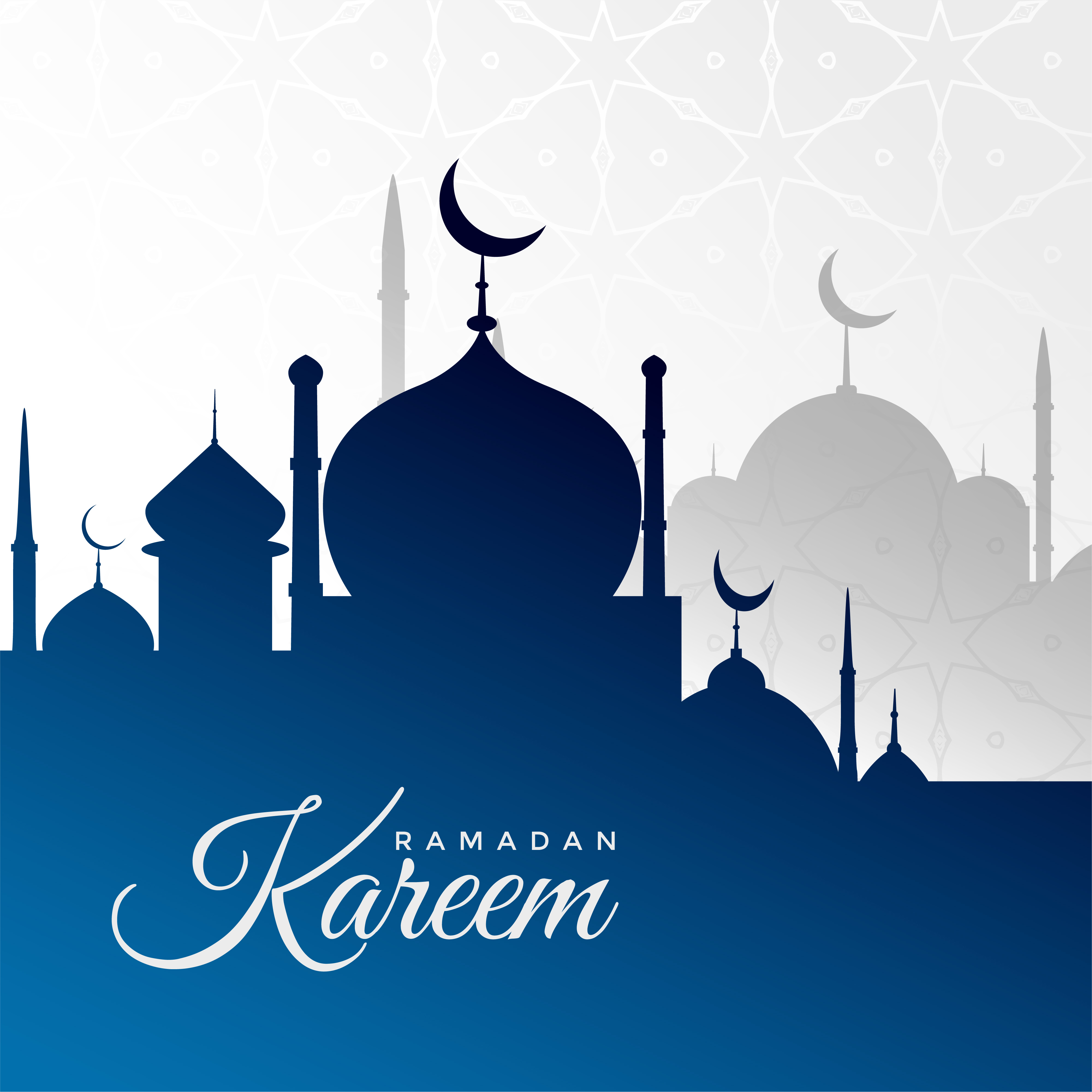 Ramadan Kareem Background With Blue Mosque Silhouette